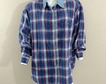 Vintage 90's Grunge Womens Shadow Plaid Flannel Shirt Oversized Tunic XL XXL 2XL Oversized