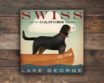 SWISSY Swiss Mountain Dog FREE Text CUSTOMIZATION Dog Canoes Ready-to-Hang Stretched Canvas Wall Art Fowler Native Vermont