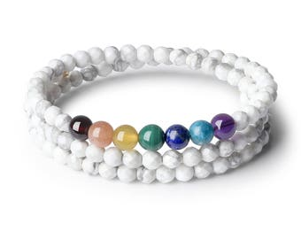 Faceted 4mm  Howlite Semi Precious Gemstones 7 Chakra Healing Crystals Bangle Bracelet