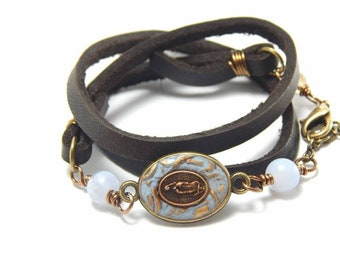 Our Lady of Guadalupe Leather Wrap Bracelet - Catholic bracelet Blessed Mother Virgin Mary Catholic jewelry Religious gift Confirmation gift