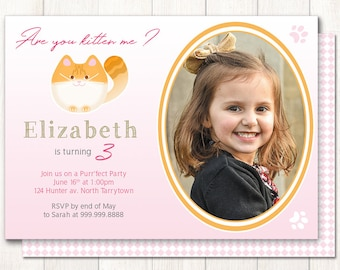 Cat invitation Printable, Custom invitation card for flamingo birthday party, personalized pink invitation with photo