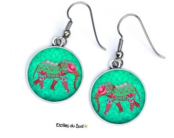 Earings, elephants, hooks, surgical steel, anti-allergic, green, red, Asian ref.300