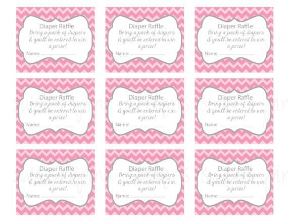 Items similar to Diaper Raffle Ticket- Grey and Pink ...