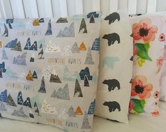 Adventure awaits standard size single pillowcase. Geometric print Cotton weave. Twin size pillowcase.