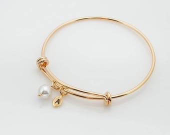 Bridesmaid gift, white pearl bracelet, Personalized bracelet, Leaf initial, Swarovski Pearl, mom bracelet