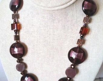CHUNKY PURPLE BEAD Short Necklace. Silverfoil Murano Disc Bead Choker with Glass Cubes, Copper. Plum, Violet, Brown Coin Bead Necklace.