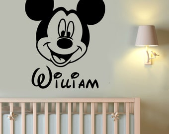 Custom Name Mickey Mouse Wall Decal Personalized Sticker Disney Cartoon Art Decorations for Home Kids Boys Baby Room Nursery Decor mimo16