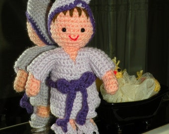 PDF - Amalia, after her bath wearing robe, hair towel and bunny slippers - 9,5 inches / 24 cm amigurumi bedtime doll crochet pattern