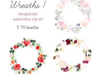 Hand Painted Floral Wreath Clipart, 7 floral wreaths, invitation clipart, watercolour wreath, roses wreath, floral border, wreath collection
