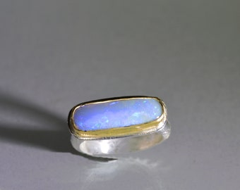 Boulder Opal Ring in Gold and Silver, Rectangular Australian Opal Ring, Periwinkle Opal, Blue Flash Opal, Size 6.5, Opal Jewelry