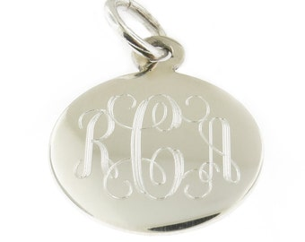 925 Sterling Silver Round Personalized Pendant 12mm to 35mm