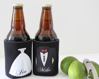 Weddings, Photo Booth Props, Wedding Favors, Stock the bar party, Personalized beer cooler, Groom & Bride gift