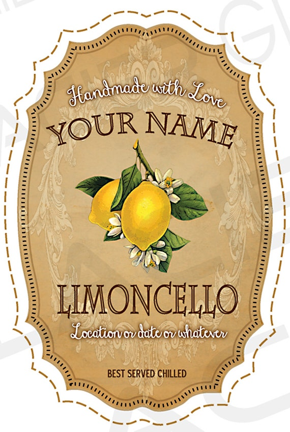 New CUSTOMIZED Vintage Limoncello Labels Digital DIY Wedding Gift SW54