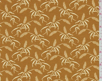 Harvest Orange Wheat Print Cotton, Fabric By The Yard