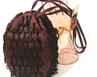 Art Deco Satin Beaded Bag  Brown Satin  Black Looped Beaded Fringes  Koret  Flapper Bag  Drawstring Handles With Coin Purse  1920's Vintage