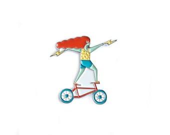 Bicycle Babe Enamel Pin