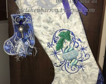 Elegant Silver and Blue Metallic Embroidered Christmas Stocking -- Metallic Fabric and Embellishments