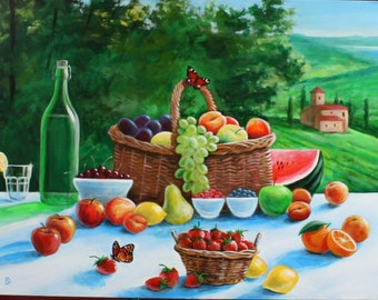 Original Painting. Italian life still. Canvas 30x40. No print.