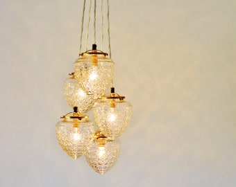 Acorn Globe Cluster Chandelier, Clustered Hanging Pendants Lighting Fixture, 5 Clear Textured Glass Globes, Brass Fittings, Free Shipping