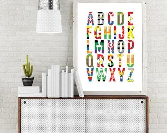 Superhero Nursery Print, Superhero Baby Art, Superhero Alphabet, Superhero Poster, Superhero Decor, Superhero Kids Room, Superhero ABC Decor