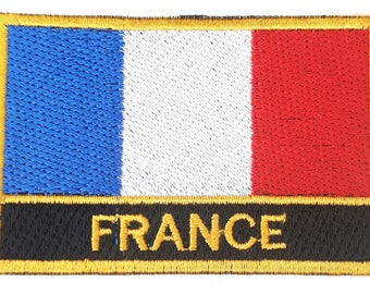 France Oblong Embroidered Patch