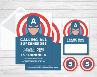 Superhero Invitation for a Captain America themed Birthday Party set