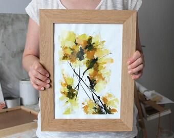 Peinture florale abstraite, fleurs jaunes, Tableau abstrait unique, oeuvre d'art originale