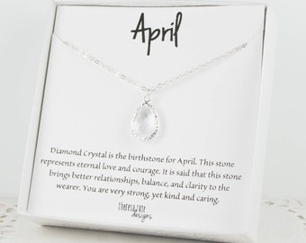 April Birthstone Silver Teardrop Necklace, Crystal Necklace, Silver Necklace, April Birthday Gift, Bridesmaid Jewelry, Gifts Under 20
