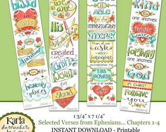 Ephesians 1-4 Full Color Bookmarks  Bible Journaling Illustrated Faith INSTANT DOWNLOAD Scripture Digital Printable Christian Religious