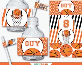 Basketball Water Bottle Labels - Basketball Birthday - Basketball Party - Basketball Printables - Basketball Water Bottle (Instant Download)