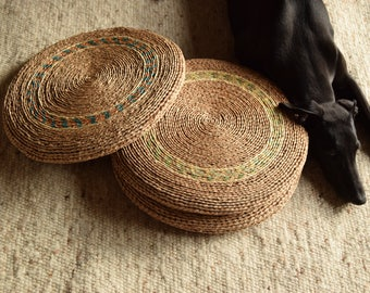 70's / raffia round Pouf / floor cushions / handwoven / vegetable / Boho