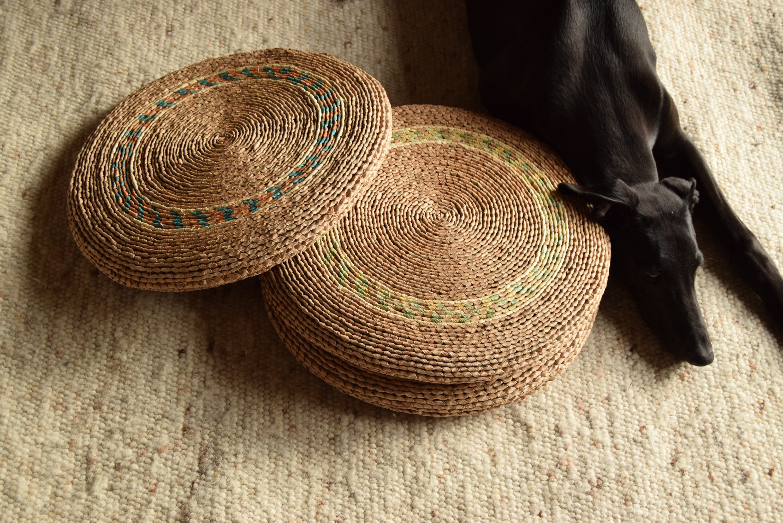 Pouf Jonc De Mer 70's / raffia round pouf / floor cushions / handwoven / vegetable / boho