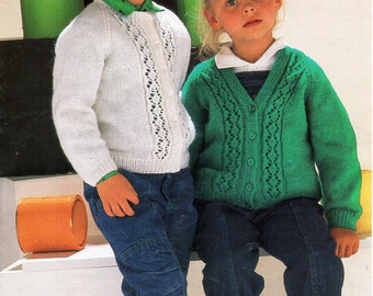 "Childs cardigan Childrens knitting pattern PDF Download Childrens Cardigan girls cardigan childs jacket lacy  24-32"" DK Light Worsted 8 ply"