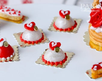 White Valentine's Dome - Individual French Valentine's Pastry - Miniature Food