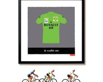 Tour de France, Cycling Art, Green Jersey, Points Jersey, Art Print