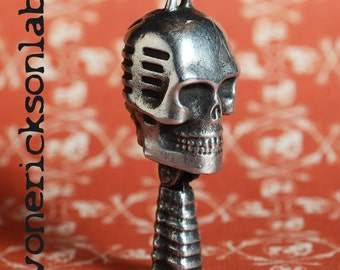 Small Skull Microphone Charm Necklace