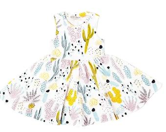 Cactus Dress- Succulent Dress- Toddler Dress- Printed Girls Dress- Organic Cotton Jersey Dress- Toddler Jumper- Easter Dress - Succulents