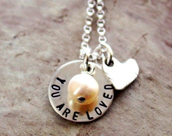 You Are Loved necklace, sterling silver with stone and heart charms