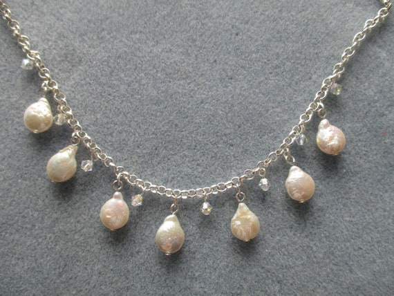Freshwater Teardrop Pearl and Swarovski Crystal Necklace N112171