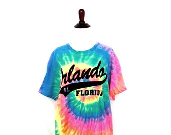 Vintage Tie Dye Florida T-Shirt 90's Orlando Florida Shirt 1990's Women's Large Cotton Tie Dyed Tee Colorful Novelty Florida T-Shirt