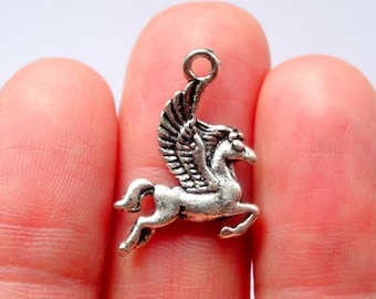 10 Winged Horse Charm Antique Silver - SC1203