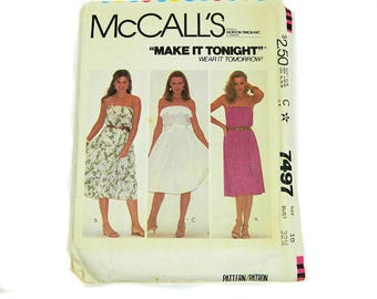 Uncut Sewing Pattern McCall's 7497 Strapless Dress 1981