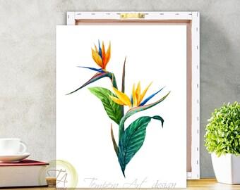 Floral Tropical Art Decor, Bird Of Paradise Plant, Botanical Wall Art, Wall Art Decor, Tropical Wall Art, Hawaiian Art Decor Tropical Poster