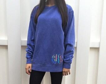 Monogram Sweatshirt - Monogram Tunic - Lilly Pulitzer Inspired - Comfort Colors Sweatshirt - Monogram Pullover - Oversized Sweatshirt