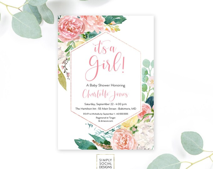 Pink Floral Baby Shower Invitation - Garden Shower - It's a Girl! Peony Roses Blush Pink Invitation Watercolor faux rose gold foil Printable