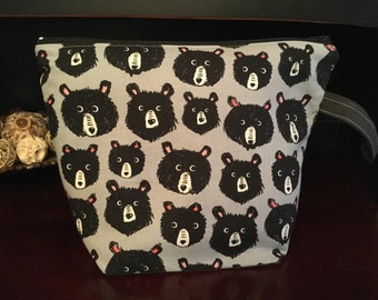 Bears! Bears! Zippered Knitting Project Bag