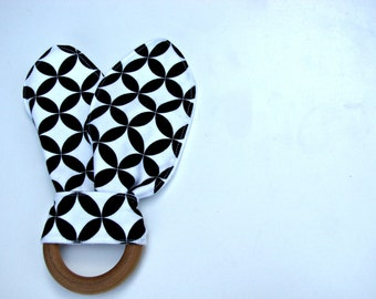Teething Ring - Bunny Teether - Baby Teething Toy - Monochromatic Baby Toy - Black White Teething Ring - Baby Shower Gift - Christmas Gift