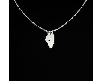 Illinois Necklace - State Jewelry - Illinois Gift - Illinois Jewelry