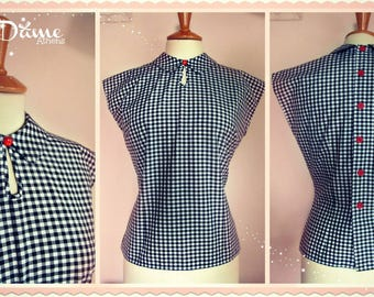 1950s style blouse with peter pan collar Polka Dot,Stripes,Eyelet,Gingham,Solid Colors,Florals etc