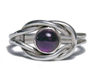 Hand forged Amethyst Reef knot Ring